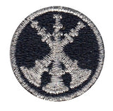 "HERO'S PRIDE  3 BUGLES  PATCH 1"" CIRCLE MET. SILVER ON DK NAVY  SEW ON"