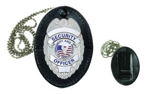 HERO'S PRIDE LEATHER CLIP-ON BADGE CASE (OVAL) - RECESSED FOR EAGLE WITH TWO FLAG DESIGN