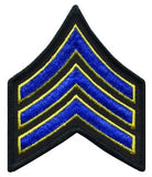 "HERO'S PRIDE  SGT PATCH PAIR  3"" W/MERROWED BORDER ROYAL W/MED GOLD EDGE ON BLACK SEW ON"