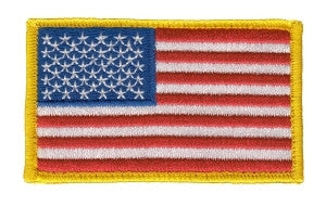 U.S. FLAG W/VELCRO - 3-3/8 X 2 FULL COLOR MEDUIM GOLD