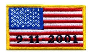 U.S. FLAG SEW ON  - 9/11/2001 - 3-3/8 X 2 FULL COLOR MEDUIM GOLD