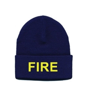 "WATCH CAP - ""FIRE"" - MED. GOLD ON NAVY"