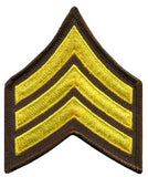 "HERO'S PRIDE  SGT PATCH PAIR  3"" W/MERROWED BORDER MED GOLD ON BROWN SEW ON"