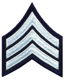 "HERO'S PRIDE  SGT PATCH PAIR  3"" W/MERROWED BORDER WHITE ON MIDNIGHT NAVY SEW ON"