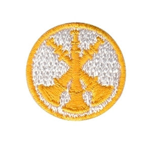 "HERO'S PRIDE  3 BUGLES  PATCH 1"" CIRCLE GOLD ON WHITE  SEW ON"
