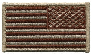 U.S. FLAG SEW ON - REVERSE - 3-1/4 X 1-13/16 DESERT