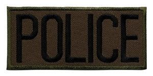 "HERO'S PRIDE POLICE  CHEST PATCH 4 X 2""  BLACK ON O.D.  HEAT SEAL'ABLE"