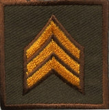HERO'S PRIDE  SGT PATCH PAIR 1 1/2 X 1 1/2 DK GOLD ON BROWN  SEW ON