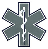 "HERO'S PRIDE STAR OF LIFE REFLECTIVE PATCH 7 X 7"" NAVY/WHITE  SEW ON"