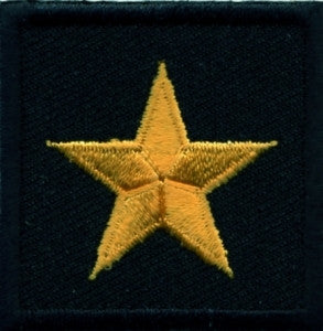 HERO'S PRIDE  1 STAR GENERAL PATCH PAIR 1 1/2 X 1 1/2 DK GOLD ON BLACK  SEW ON