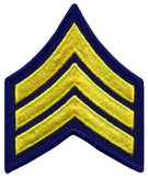 "HERO'S PRIDE  SGT PATCH PAIR  3"" W/MERROWED BORDER MED GOLD ON MIDNIGHT NAVY SEW ON"