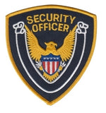 "HERO'S PRIDE SECURITY OFFICER  PATCH 4 X 4"" GOLD BORDER/DK NAVY TWILL  SEW ON"