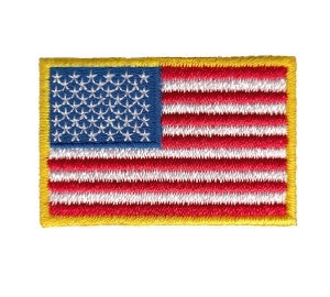 U.S. FLAG IRON ON - 1-1/2X1 HOT KNIFED EDGE FULL COLOR MEDUIM GOLD