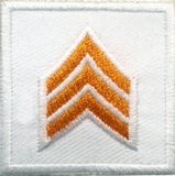 HERO'S PRIDE  SGT PATCH PAIR 1 1/2 X 1 1/2 DK GOLD ON WHITE  SEW ON