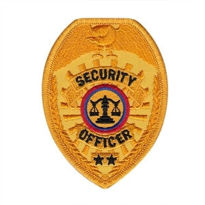 HERO'S PRIDE SECURITY OFFICER  PATCH2 1/2 X 3 1/2 GOLD BADGE  SEW ON