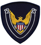 HERO'S PRIDE EAGLE SCROLL BLANK  PATCH 4 X 4 3/8 NAVY BORDER/NAVY TWILL  SEW ON