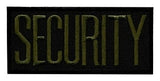 "HERO'S PRIDE SECURITY  CHEST PATCH 4 X 2""  OLIVE DRAB ON BLACK  HEAT SEAL'ABLE"