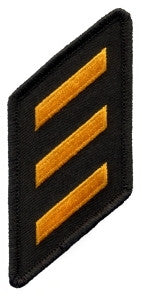 HERO'S PRIDE THREE HASHMARK TWILL/OVERLOCK  PATCH DK GOLD ON BLACK SEW ON