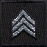 HERO'S PRIDE  SGT PATCH PAIR 1 1/2 X 1 1/2 SILVER ON MIDNIGHT NAVY  SEW ON