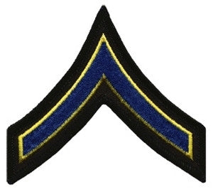 "HERO'S PRIDE  PFC PATCH PAIR 3 1/2""  W/MERROWED BORDER  ROYAL W/MED GOLD EDGE ON BLACK SEW ON"