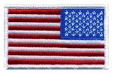 U.S. FLAG SEW ON - REVERSE - 3-3/8 X 2 FULL COLOR WHITE