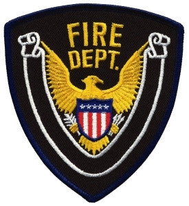 HERO'S PRIDE FIRE DEPT. W/BLANK SCROLL PATCH 4 X 4 3/8DK NAVY BORDER/MIDNIGHT NAVY TWILL  SEW ON