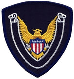 HERO'S PRIDE EAGLE SCROLL BLANK  PATCH 4 X 4 3/8 DARK NAVY BORDER/MIDNIGHT NAVY TWILL  SEW ON