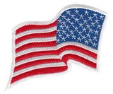 U.S. FLAG SEW ON - WAVY - REVERSED - 3-1/4 X 2-1/4  FULL COLOR WHITE