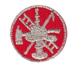 "HERO'S PRIDE  SCRAMBLE (BASIC)  PATCH 1"" CIRCLE MET. SILVER ON RED  SEW ON"