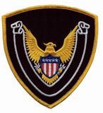 HERO'S PRIDE EAGLE SCROLL BLANK  PATCH 4 X 4 3/8 MED GOLD BORDER/MIDNIGHT NAVY TWILL  SEW ON