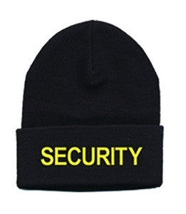 "WATCH CAP - ""SECURITY"" - MED GOLD ON BLACK"