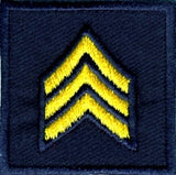 HERO'S PRIDE  SGT PATCH PAIR 1 1/2 X 1 1/2 MED GOLD ON MIDNIGHT NAVY  SEW ON