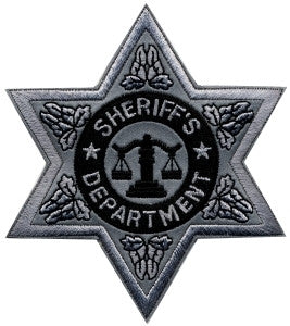 "HERO'S PRIDE SHERIFF DEPT 6 PT SILVER STAR PATCH 3 1/2"" X 3 1/2""-T-Box Tactical"