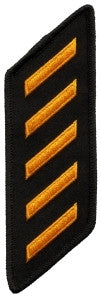HERO'S PRIDE FIVE HASHMARK TWILL/OVERLOCK  PATCH DK GOLD ON BLACK SEW ON