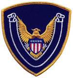 HERO'S PRIDE EAGLE SCROLL BLANK  PATCH 4 X 4 3/8 MED GOLD BORDER/NAVY TWILL  SEW ON