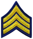 "HERO'S PRIDE  SGT PATCH PAIR  3"" W/MERROWED BORDER MED GOLD ON NAVY BLUE SEW ON"