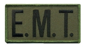 "HERO'S PRIDE E. M. T.  CHEST PATCH 4 X 2""  BLACK ON O.D.  W/HOOK"