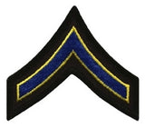 "HERO'S PRIDE  PFC PATCH PAIR  3"" W/MERROWED BORDER ROYAL W/MED GOLD EDGE ON BLACK SEW ON"