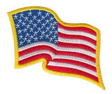 U.S. FLAG SEW ON - WAVY - 3-1/4 X 2-1/4 FULL COLOR MEDUIM GOLD