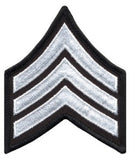 "HERO'S PRIDE  SGT PATCH PAIR  3"" W/MERROWED BORDER WHITE ON BLACK SEW ON"