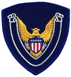 HERO'S PRIDE EAGLE SCROLL BLANK  PATCH 4 X 4 3/8 ROYAL BORDER/NAVY TWILL  SEW ON
