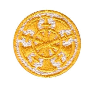 "HERO'S PRIDE  5 BUGLES  PATCH 1"" CIRCLE GOLD ON WHITE  SEW ON"