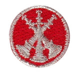 "HERO'S PRIDE  3 BUGLES  PATCH 1"" CIRCLE MET. SILVER ON RED  SEW ON"