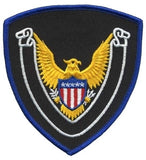 HERO'S PRIDE EAGLE SCROLL BLANK  PATCH 4 X 4 3/8 ROYAL BORDER/MIDNIGHT NAVY TWILL  SEW ON