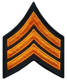 "HERO'S PRIDE  SGT PATCH PAIR  3"" W/MERROWED BORDER DARK GOLD ON BLACK SEW ON"