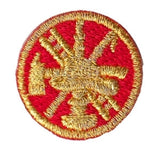 "HERO'S PRIDE  SCRAMBLE (BASIC)  PATCH 1"" CIRCLE MET. GOLD ON RED  SEW ON"