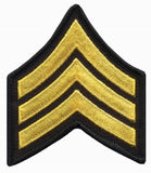 "HERO'S PRIDE  SGT PATCH PAIR  3"" W/MERROWED BORDER MED GOLD ON BLACK SEW ON"