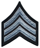 "HERO'S PRIDE  SGT PATCH PAIR  3"" W/MERROWED BORDER MED GREY ON BLACK TWILL SEW ON"