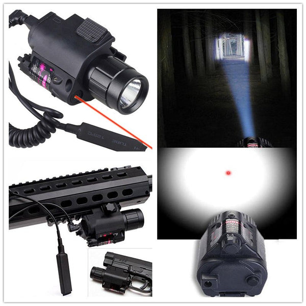 2in1 Tactical CREE LED Flashlight/LIGHT+Red Laser/Sight Combo for Shotgun Glock