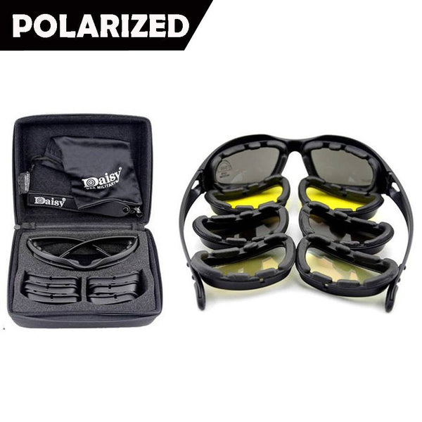 Daisy C5 Polarized Army Goggles, Military Sunglasses 4 Lens Kit, Men's War Game Tactical Glasses Outdoor Sports